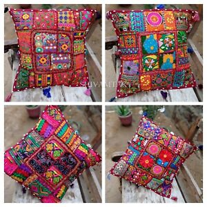 Indian Handmade Patchwork Pillow Case Embroidery Tassel Cushion Cover 40cmx40cm