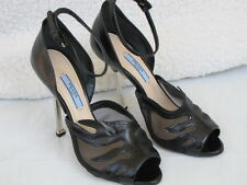 PRADA SHOES peep toe heels mesh flame black 39.5 9.5