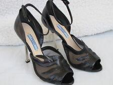 PRADA SHOES peep toe heels mesh flame black 36 6