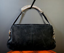 YVES ST. LAURENT Tom Ford Era Black Suede Mombasa Bag w/Ornate Silver Handle