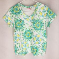 FRESH PRODUCE Shirt Top Size Medium Floral Beach Cotton V-Neck Short Sleeve