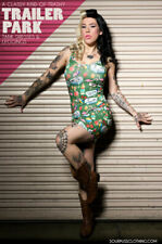 Sourpuss Trailer Park Bodycon Dress Tattoo Psychobilly Hawaiian Tiki Tropical L