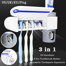 Toothbrush Holder Uv Light Sterilizer Cleaner Toothpaste Dispenser Organizer Us