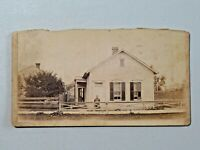 Antique Cabinet Card Photo Woman in Front of her House Ohio H.M. Fowler & Co.