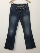 LEVIS Womens Bold Curve Bootcut Mid Blue Stretch Distressed Denim Jeans Size 28