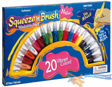 20 Squeeze N Brush Childrens Non Toxic Washable 2 in 1 Paint Tubes Art Craft Set