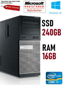 Dell Optiplex 790 Mini Tower PC - Core i7 16GB RAM 240GB SSD Windows 10 Computer