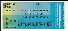 Original Foo Fighters mit David Groh aus Nivana 2002 Concert Ticket Stub