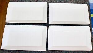 "4 lot Oneida Buffalo A-13 Bright White 11.25"" x 6.75"" Rectangle Luncheon Plates"
