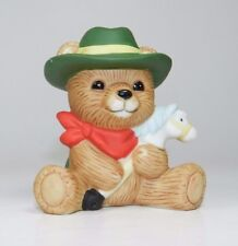 Homco Bear Figurine #1417- Bear with Stick Horse and Green Hat