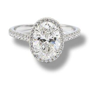 Tiffany & Co. Platinum Oval Soleste Diamond Engagement Ring 2.33 Cts Total FVS1