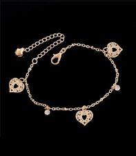 Fully Adjustable Ankle Bracelet Gold Love Heart & Crystal