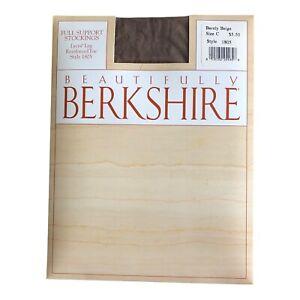 Vtg Berkshire Stockings Full Support Size C Barely Beige Reinforced Toe 1805