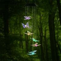 LED  Butterfly Color-Changing Power Solar Wind Chimes Yard Home Garden Decor