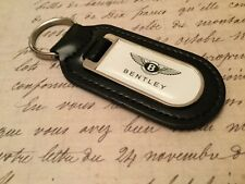 BENTLEY WHITE Real Leather Keyring  Printed resin coated CONTINENTAL GT SPUR