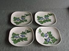 Vintage 1950s RED WING POTTERY BLUE FLOWER SALAD PLATES Handpainted Set of 4