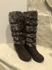 De Blossom Collection Womens Boots 7 1/2 Dark Brown With Fur And Ribbon Warm Zip