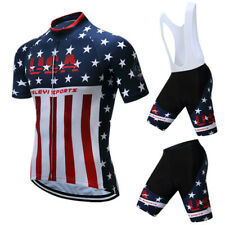 USA Team Mens Outdoor Cycling Jersey Set Bicycle Sportswear Suit Quick-Dry
