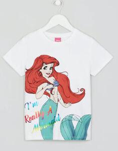 BNWT Ex Matalan disney The Little Mermaid Ariel white summer t-shirt top 2-9 yrs