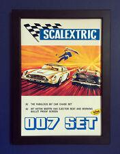 Scalextric 1968 James Bond Aston Martin Mercedes A4 tamaño póster enmarcado