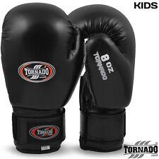 Kids Boxing Gloves Sparring Training Muay Thai Gloves Junior Mitts Black Tornado