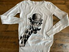 Mossimo Supply Co Womens Sz Small Giraffe Mustache & Hat Crewneck Sweater Ivory