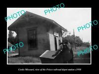 OLD LARGE HISTORIC PHOTO OF COOKS MISSOURI, THE FRISCO RAILROAD DEPOT c1950