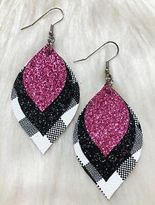 Beautiful Buffalo Plaid & Pink Faux Leather Earrings Triple Layer