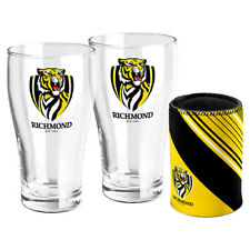 AFL RICHMOND TIGERS SET OF 2 PINT GLASSES & CAN COOLER GIFT BOXED 600ML