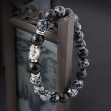 Tibet silver Buddha head natural White spot stone bead 8mm lucky man bracelet GA