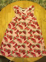 Crazy 8 L Large Girls 10 12 Kids Watermelon Fruit Pink Dress Ruffle Cotton