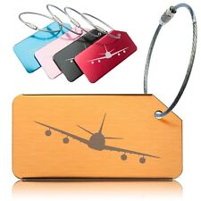 Aluminium Luggage Tags, Baggage Labels for Travel. Aeroplane Design 5 Pack