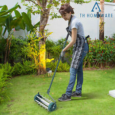 More details for heavy duty rolling grass lawn  aerator steel spike roller aluminum handle garden