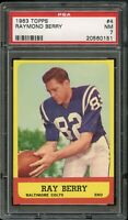 1963 Topps FB Card # 4 Raymond Berry Baltimore Colts PSA NM 7 !!