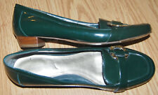"""BANDOLINO Pine GREEN glossy leather 3/4"""" low heel flats loafer 6 NEW RALSTON $65"""