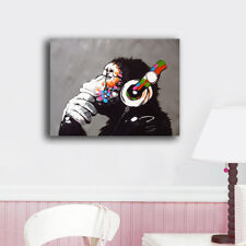 Framed Canvas Prints Stretched Gorilla Music Animal Wall Art Home Decor Painting