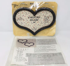 The New Berlin Country Heart Dark Wooden Frame And Welcome Cross Stitch Pattern