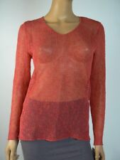 $218 Eileen Fisher Coral Linen Blend Open Knit Vneck Sweater Top XS 0 2 NWT E531