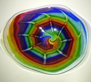 HAND BLOWN GLASS ART DECOR WALL PLATTER BOWL PLATE, DIRWOOD GOLD SPARKLES, n3641