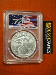 2021 SILVER EAGLE PCGS MS70 FLAG THOMAS CLEVELAND FIRST DAY OF ISSUE FDI TYPE 1
