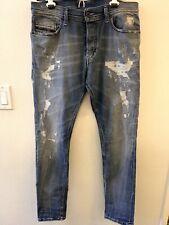 New Diesel TEPPHAR Jeans 33W 32L Tags Distressed Wash 0856X Stretch Slim Carrot