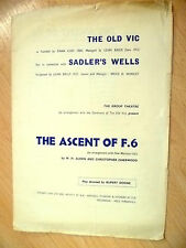 Old VIC, Sadler's Wells Programme- THE ASCENT OF F. 6 by W.H. Auden/ C Isherwood
