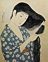 Woman in Blue Combing Her Hair. Oriental Repro Made in U.S.A Giclee Prints