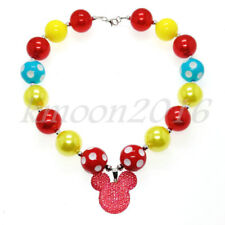 Red Mickey Pendant Chunky Gumball Beads Bubblegum Necklace For Kids  X-MAS Gift