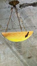 Ancien lustre art déco, vasque en pâte de verre couleur jaune, non signé.