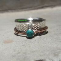 Turquoise Solid 925 Sterling Silver Spinner Ring Meditation Statement Ring Sr713