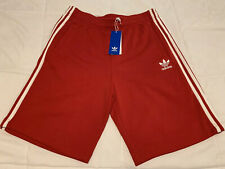 Adidas 3 Stripe Trefoil Shorts CZ5228 Scarlet/White Men's Size Medium Gym Run