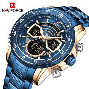 NAVIFORCE Brand Watches for Men Fashion Sport Digital Alarm Steel Wristwatch Man