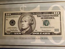 1999 USA $10 TEN DOLLAR (LOW NUMBERED) BOSTON FEDERAL RESERVE NOTE BEP UNC