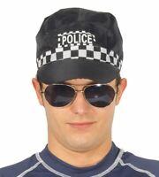 Adults Black Police Cap Hat Copper Law Enforcer Fancy Dress Accessory